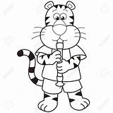 Oboe Drawing Cartoon Tiger Playing Getdrawings sketch template