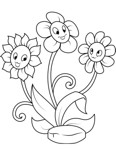 Cute Flower Characters coloring page Free Printable