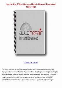 Honda Atc 250sx Service Repair Manual Downloa By
