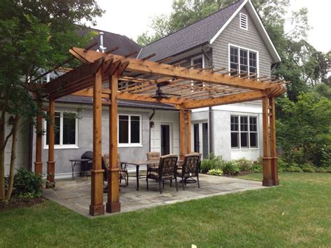 landscaping with pergolas pergola and flagstone patio traditional landscape seattle by green spaces landscaping