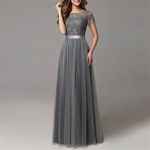 2017 dark grey bridesmaid dresses long lace tulle floor With long grey dress for wedding