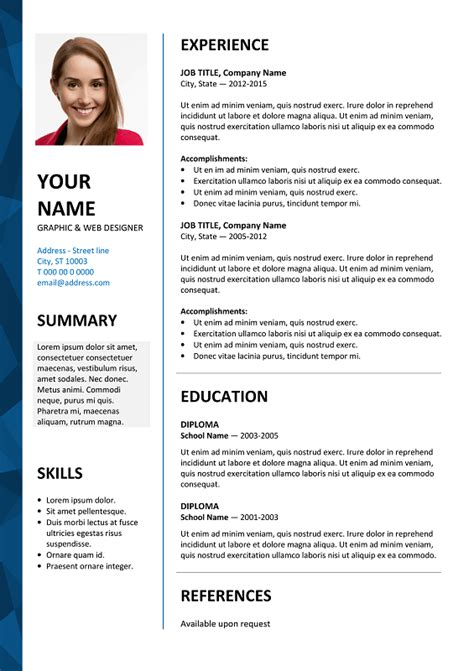 dalston  resume template microsoft word blue layout