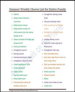 Free Printable Weekly Chore List