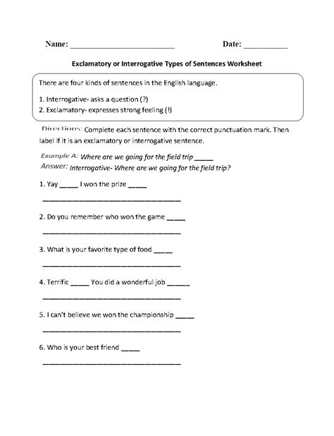 imperative sentences worksheet for grade sentences