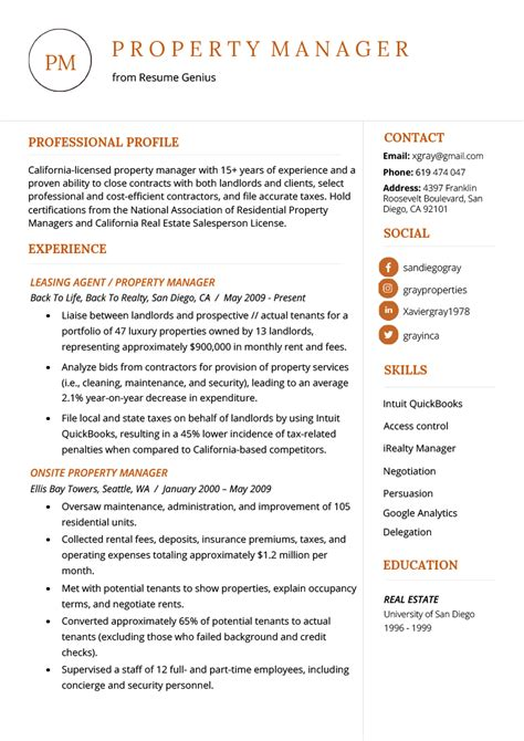 Sample Property Manager Resumes 50 Best Templates