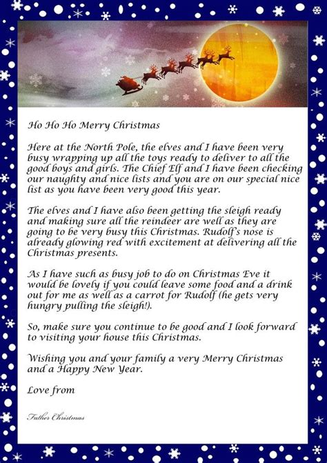 letter  father christmas  printable template