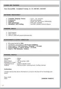 Resume Format For Fresher Teachers In India by It Fresher Resume Format In Word