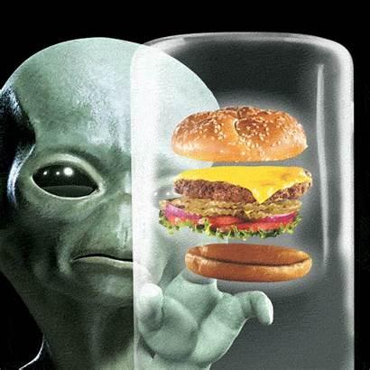Alien Hungry Gifs Cheeseburger Giphy Martian Burger