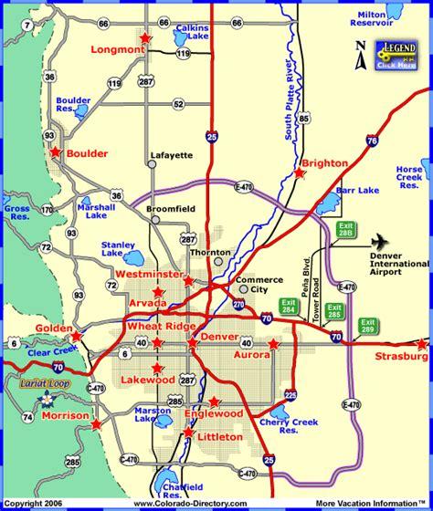 denver metro local area map colorado vacation directory