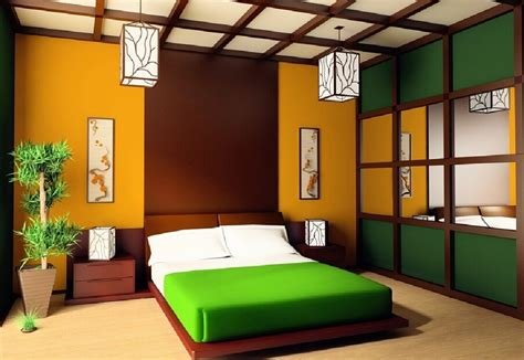 colorful japanese bedroom style with big mirror decolover