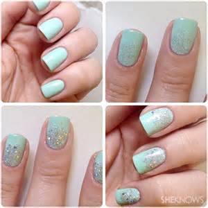 Nail art designs with glitter step by gradient nails