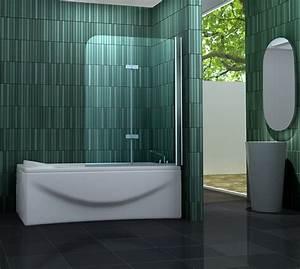 Duschtrennwand Badewanne Glas : 120 x 140 badewannen faltwand 2 tlg duschwand ~ Michelbontemps.com Haus und Dekorationen