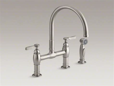 kohler parq bridge faucet kohler parq r two deck mount bridge kitchen sink