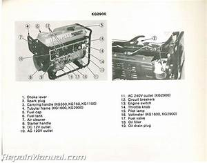 Used Kawasaki Kg550a Kg750a Kg1100a Kg1600a Kg2900a Portable Generator Owners Manual