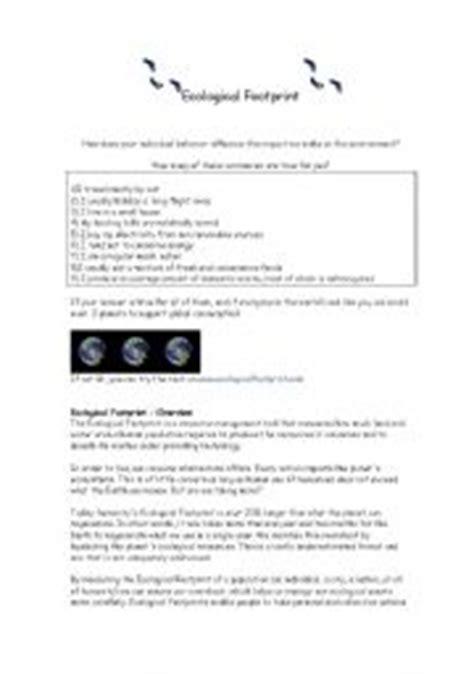 esl worksheets for adults ecological footprint