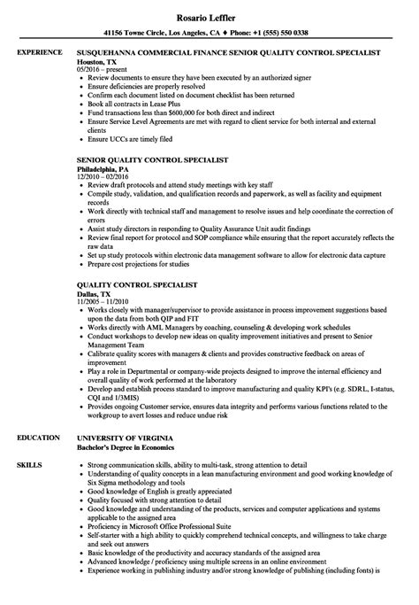Quality Specialist Resume by Quality Specialist Resume Vvengelbert Nl