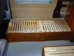 Deep Red - A self-build motorhome - beds & seats