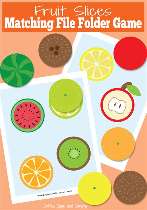 fruit slices file folder coffee cups and crayons 840   Printable Fruit Slices File Folder Game