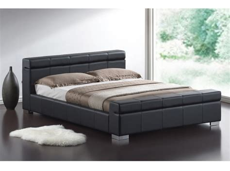 Leather Bed by Time Living Durham 5ft Kingsize Black Faux Leather Bed