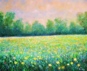 yellow flower field painting by robert hess