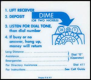 Bell System Pay Phone Instructions For A Multi