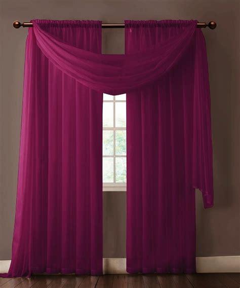 warm home designs pair of plum purple sheer curtains or