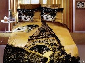 eiffel tower black gold paris duvet bedding set paris