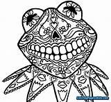 Skull Coloring Sugar Kermit Pages Dead Muertos Dia Los Simple Animal Drawing Skulls Colouring Printable Frog Clipart Animals Easy Sheets sketch template