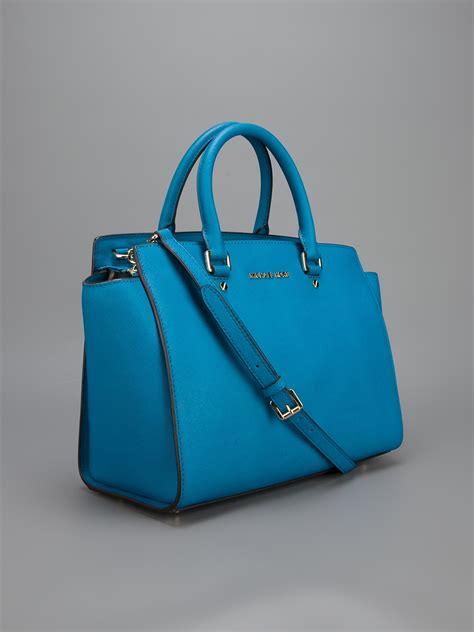 lyst michael michael kors selma handbag  blue