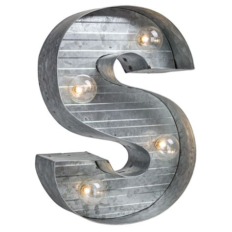 led light  galvanized metal monogram letter  pier