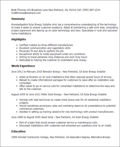 Resume Solar Panel Installer professional solar energy installer templates to showcase your talent myperfectresume