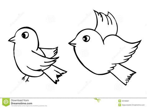 Vector Hand Draw Sketch, Two Outline Birds, Isolated On ...
