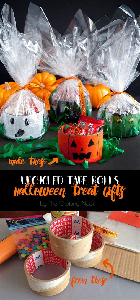 upcycled tape rolls halloween treat gifts season