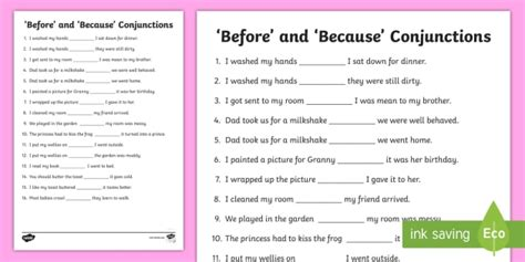 before and because conjunctions worksheet activity sheet