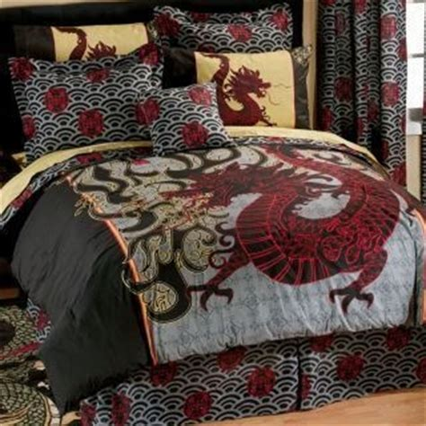queen dragon asian inspired comforter with bed skirt
