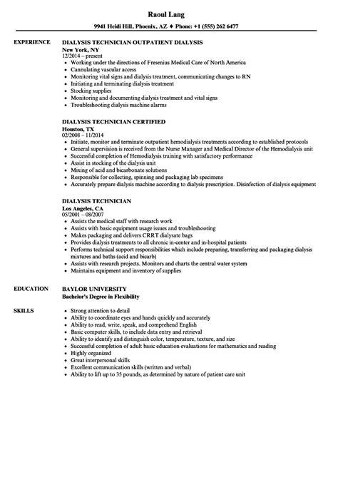 dialysis technician resume sles velvet