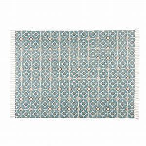 Tapis En Coton : tapis en coton motifs carreaux de ciment bleus 160x230cm ~ Nature-et-papiers.com Idées de Décoration