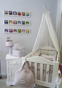 Deco Chambre Bebe Fille Gris Rose : decoration mur chambre bebe fille hiboux oiseaux rose gris ~ Teatrodelosmanantiales.com Idées de Décoration