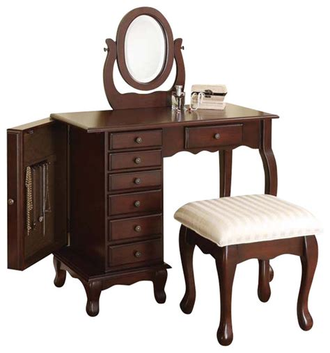 Dark Brown 7 Drawer Vanity Table Swival Mirror Stool Set w/ Storage End Cabinet   Traditional