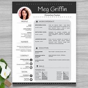 teacher resume template cover letter references black With editable teacher resume template