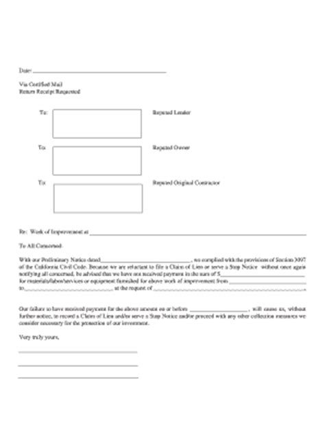 intent lien fill  printable fillable blank