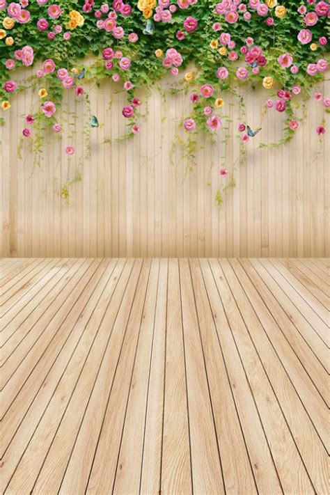 Backdrop Background Photography by 200x300cm Simple Wood Beautiful Flowers Photographic