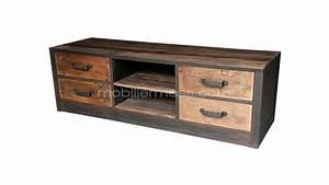 meuble tv industriel mobiliermoss bois metal caruso 4 With meuble en manguier massif 7 meuble tv industriel 2 tiroirs bois fonce made in meubles