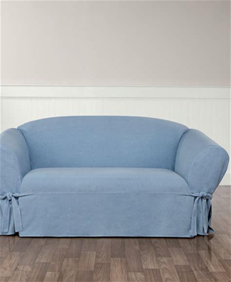 denim sofa slipcover 2 piece sure fit authentic denim one piece loveseat slipcover