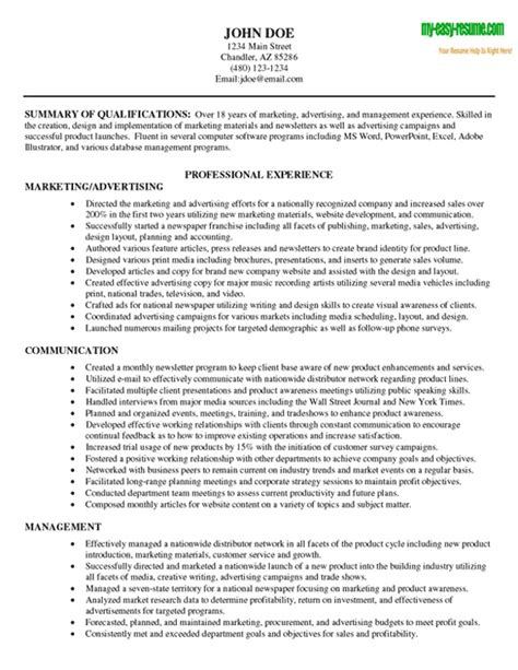 marketing resume sle