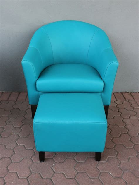 club chair ottoman turquoise leather eclectic