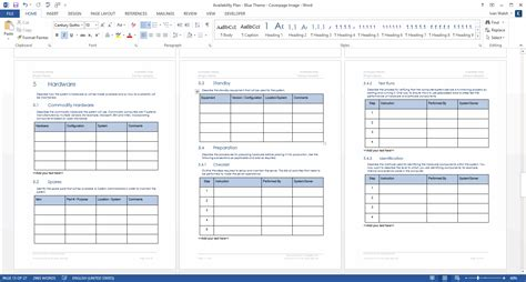 It Support Plan Template by Availability Plan Template Technical Writing Tips