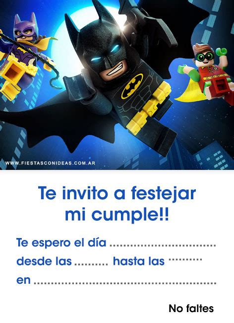 invitaciones de batman gratis  editar  imprimir