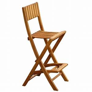 Chaise Bar Bois : chaise haute bar bois pliante en teck massif pour jardin ~ Teatrodelosmanantiales.com Idées de Décoration