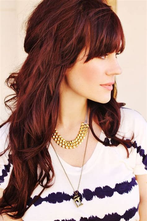 Long Layered Hairstyle With Beautiful Fringe Red Hair